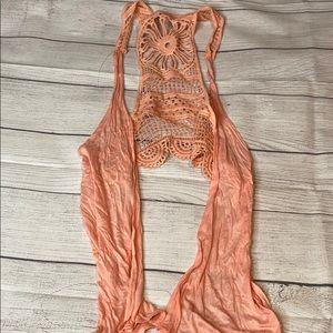 Boho light pink vest